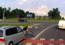Potrącenie rowerzystki na Trasie Północnej. Mamy nagranie