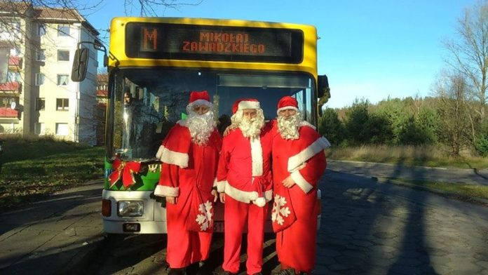 Mikołaj w autobusie w Zielonej Górze